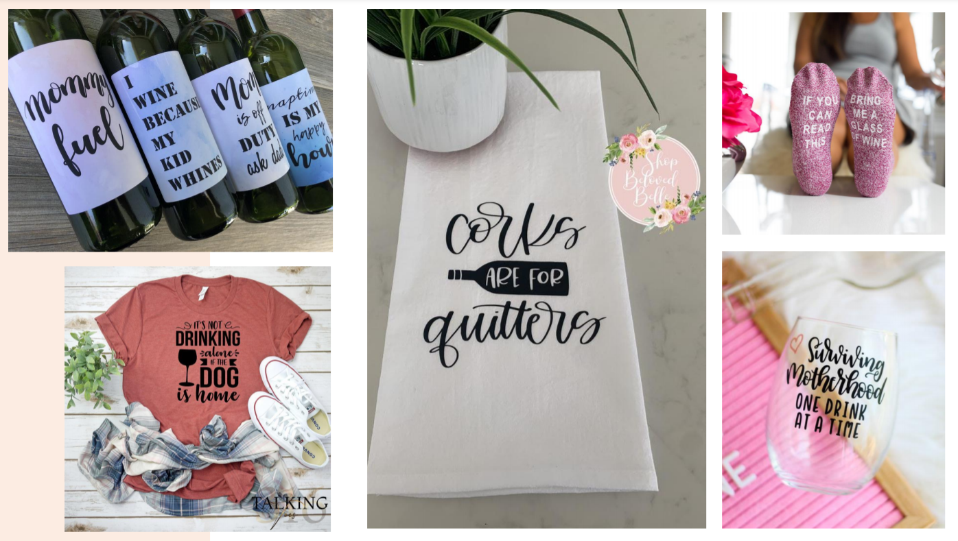 Wine Mom Culture Products On Etsy - Pushing Heavy Drinking, Daily Drinking, Binge Drinking for Women To Cope - Big Alcohol Marketing